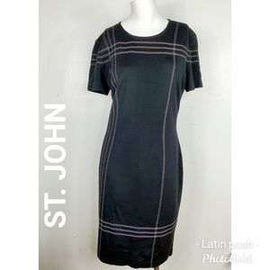 NWOT ST JOHN Black Knit Sheath Short Sleeve Dress